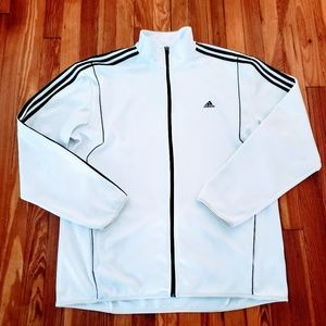 Adidas White Black Striped Mens CLIMALITE Full Zip
